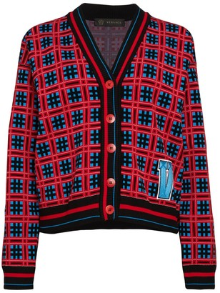 Versace Check Varsity Cardigan Sweater