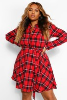 Thumbnail for your product : boohoo Plus Check Tie Waist Shirt Skater Dress