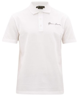 Versace Signature-embroidered Cotton-pique Polo Shirt - White