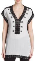 MICHAEL Michael Kors Womens Crochet Trim Short Sleeve Tunic Top