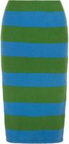 Max Mara Striped Slub Stretch Wool-blend Pencil Skirt - Bright green