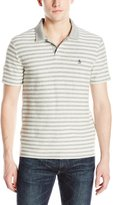 Original Penguin Men's French Terry Stripe Open Collar Polo Shirt
