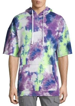No Boundaries Men's and Big Men's Tie Dye Short Sleeve Hoodie, up to Size 3XL