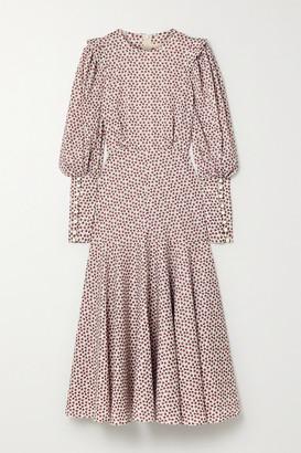 ANNA MASON Eliza Ruffled Floral-print Cotton-poplin Midi Dress - Ivory