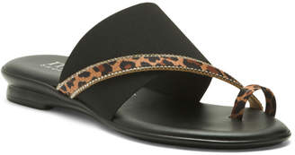 Made In Italy Leopard Studded Toe Ring Sandals