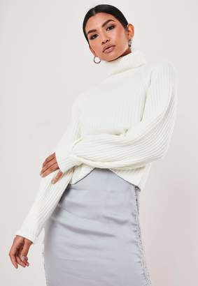 Missguided Petite White Rib Tuck Sleeve Roll Neck Jumper