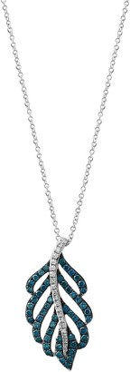 Effy 14K White Gold Diamond Leaf Pendant Necklace