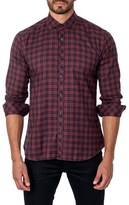 Jared Lang Men's Trim Fit Plaid Sport Shirt