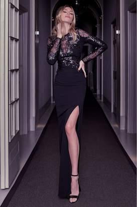 Lipsy Abbey Clancy x Sequin Artwork Lace Longsleeve Maxi Dress - 6 - Black