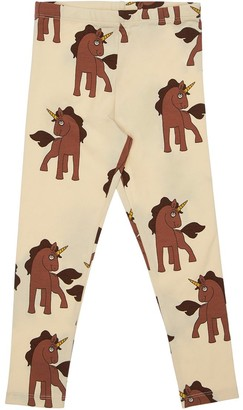 Mini Rodini Unicorn Print Cotton Jersey Leggings
