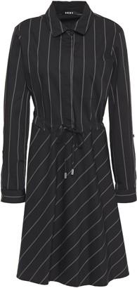 DKNY Pinstriped Stretch Cotton-twill Shirt Dress