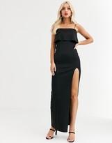 Asos Design DESIGN crop top scuba maxi dress with thigh split