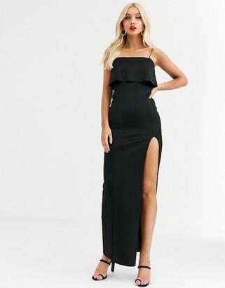 Asos Design DESIGN crop top scuba maxi dress with thigh split-Black