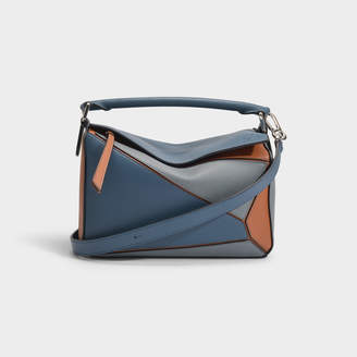 Loewe Puzzle Small Bag In Steel Blue And Tan Calfskin