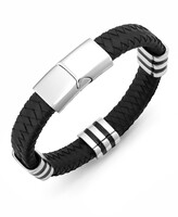 Thumbnail for your product : Sutton by Rhona Sutton Men's Stainless Steel Striped Station and Herringbone Leather Bracelet