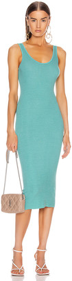 Enza Costa Silk Rib Tank Midi Dress in Quiet Wave | FWRD
