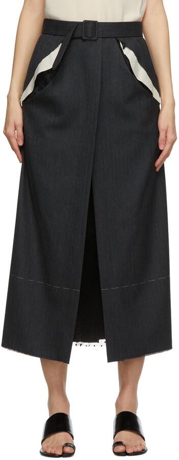 Maison Margiela Grey Deconstructed Pocket Skirt