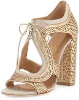 Salvatore Ferragamo Edith Twist Woven Lace-Up Sandal, Mekong/Yuta