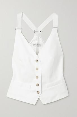 Max Mara Remo Cotton-twill And Satin-twill Jacquard Vest - White