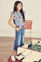 Next Girls Multi Stripe Floral Embroidered Top (3-16yrs) - Blue