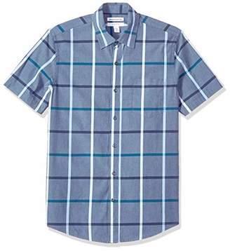 Amazon Essentials Slim-fit Short-sleeve Stripe Shirt Button,(EU S)