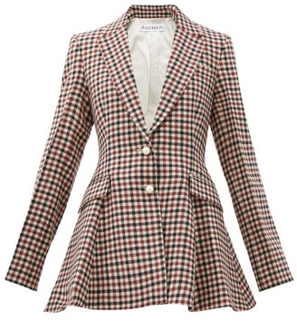 J.W.Anderson Single-breasted Peplum Checked Virgin-wool Blazer - Brown Multi