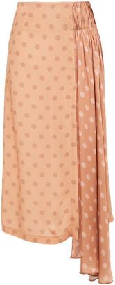 Mother of Pearl Robyn Asymmetric Paneled Polka-dot Satin Midi Skirt