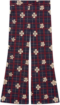 Gucci Children's flower check cotton trousers