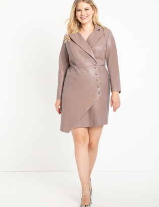 ELOQUII Asymmetrical Faux Leather Dress