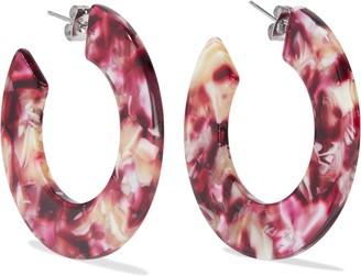Iris & Ink Alberta White Gold-plated Printed Lucite Hoop Earrings