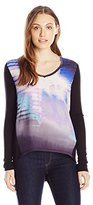 Calvin Klein Jeans Women's Printed Long Sleeve Woven Knit Mix Top
