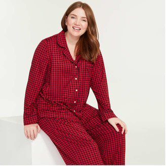 Joe Fresh Women+ Notch Collar Sleep Shirt, Red (Size 1X)