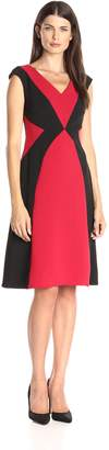 London Times Women's V Neck Color Block Fit and Flare Dress