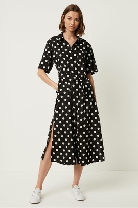 French Connection Polka Dot Midi Shirt Dress