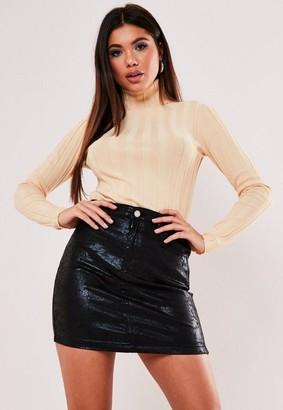 Missguided Cracked Coated Denim Mini Skirt
