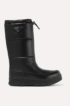 Prada Logo-appliquéd Quilted Leather Snow Boots - Black