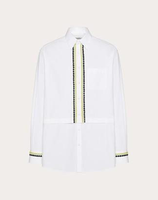 Valentino Semi-oversize Shirt With Decorative Embroidery Man Optic White 100% Cotone 41