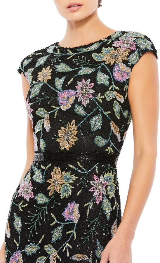 Thumbnail for your product : Mac Duggal Floral Beaded Sheath Gown