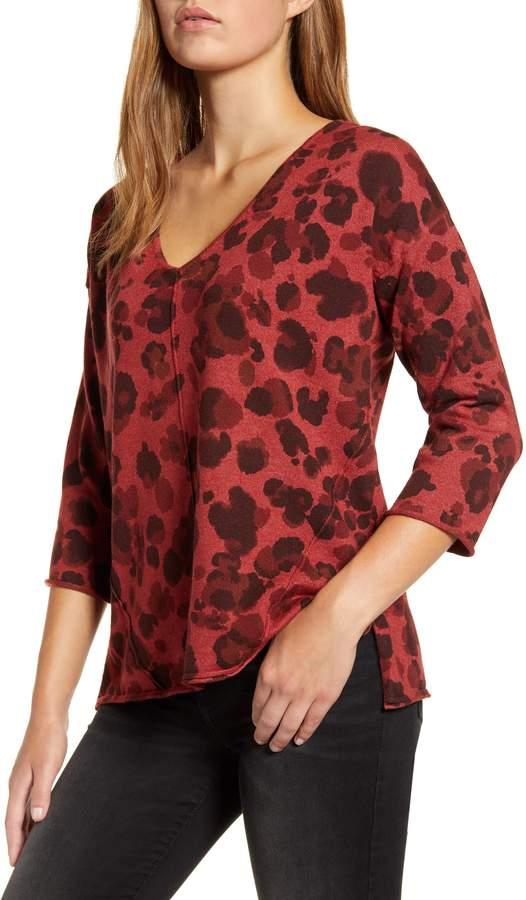 Wit & Wisdom Leopard Print Cutout Back Sweater
