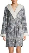 Printed Faux Shearling-Trim Hooded Robe