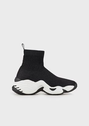 Emporio Armani High-Top Sock Sneakers In Knit