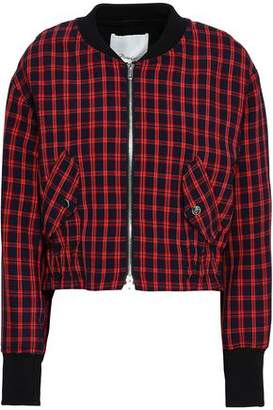 3.1 Phillip Lim Checked Stretch-crepe Bomber Jacket