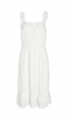 Cupcakes And Cashmere Women's Avalon Floral Embroidered Midi Dress with Ruffle Details