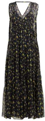 Lee Mathews - Clementine Floral Print-silk Dress - Womens - Indigo