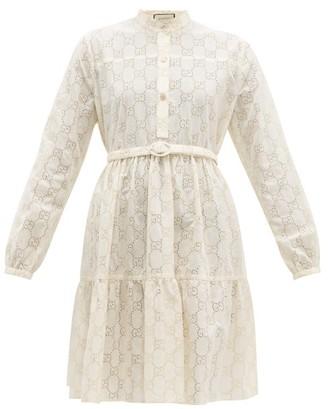 Gucci Gg Sangallo-lace Cotton-blend Dress - Womens - White Gold