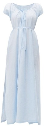 Loup Charmant Fortuna Drawstring-waist Linen Maxi Dress - Womens - Light Blue
