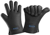 Silicone Oven Mitts - IQUALITE BBQ Grill Heat Resistant Kitchen Oven Glove Potholder - 1 Pair (Black)