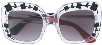 Gucci Oversize Etched Square-Frame Sunglasses