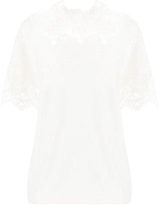 Ermanno Scervino Lace-Yoke Fluted Top