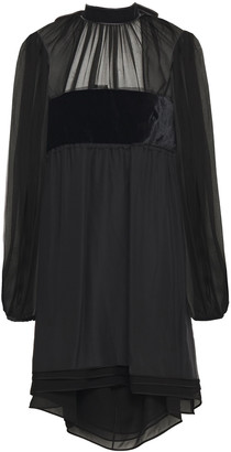 Emilio Pucci Velvet-paneled Gathered Silk-blend Chiffon Mini Dress